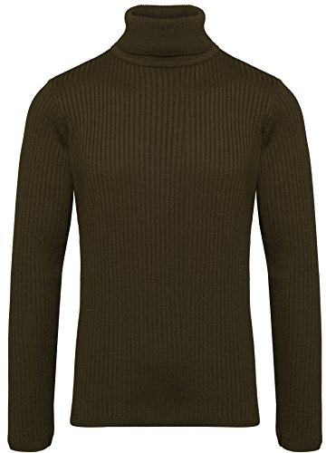 Karl's people Herren Feinstrick Rollkragenpullover in verschieden Farben K-107 (XL, Khaki) (Cool Attitude-t-shirt)