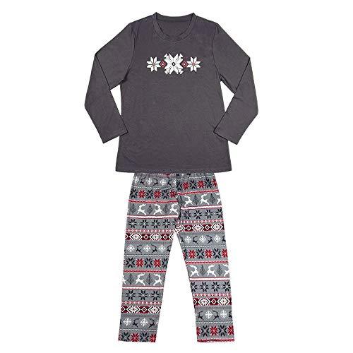 SEWORLD Weihnachten Christmas 2 STÜCKE Herren Damen Kind Pajamas Freizeitanzug Jumpsuit Sleepwear Weihnachtspullover Weihnachten Pulli Xmas Heimservice(1-Dad-grau,EU-44/CN-S)