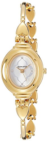 Sonata Analog Champagne Dial Women\'s Watch - 8092YM03