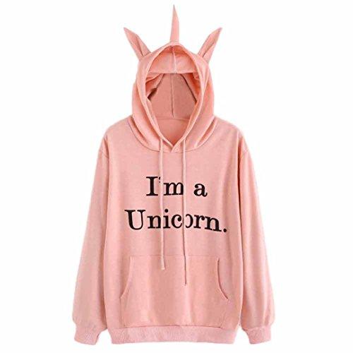 Amlaiworld Winter Niedlich Einhorn Kapuzenpulli damen Freizeit Sweatshirt warm pullover,I'm(It's)a Unicorn (S, B,Rosa) Buchstabe B Shirt