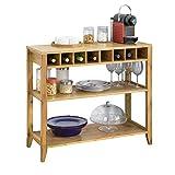 SoBuy FSB14-N Design Sideboard mit Weinregal und 3 Ablagen Küchenschrank Konsolentisch Flurschrank aus Bambus BHT ca.: 90x80x35cm