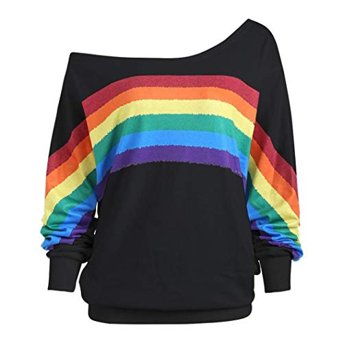 Damen Lose Rainbow Off Shoulder Pullover TWIFER Bluse Sweatshirt Langarm Shirts -