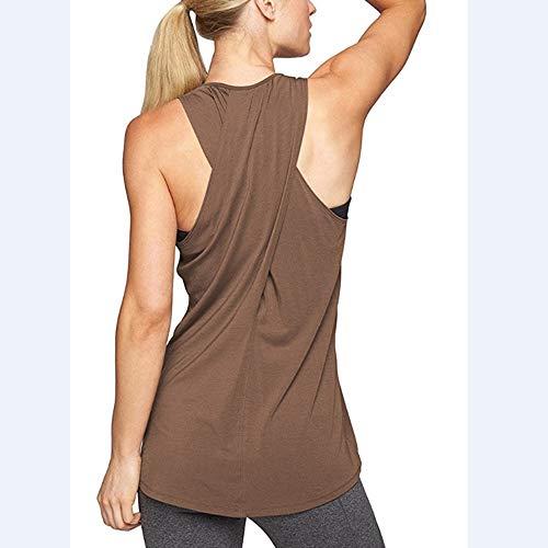 Thebestchoice Trainingskleidung, Damen Racerback Tanktops Yoga Shirts Activewear Running Kleidung Base Shirt Damen Bluse,Brown,L -