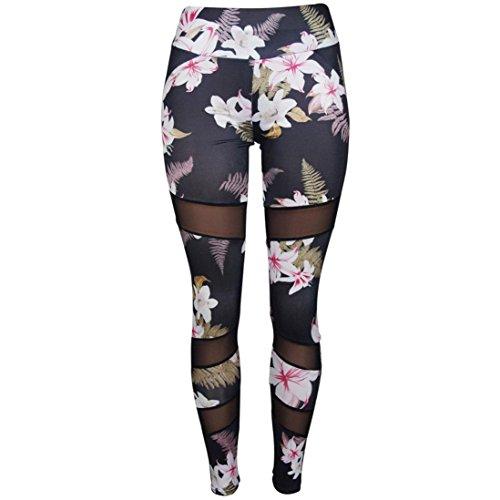 ar Damen Drucken hohe Taille Leggings Sporthosen Yoga Lauf Fitness Leggings Sportliche Hosen (S, Floral) ()
