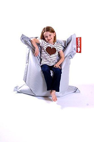 Teens Für Gaming-stühle (Hippo Pygmy groß silber wasserabweisend gefüllt Sitzsack Liege Gaming Stuhl)