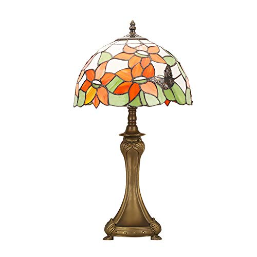 CMES Zink Alloy Base Use Stained Glass Butterfly Tiffany Style Table Lamp with, Bulb for Indoor Use Only, MulticolorLighting Resin Base for Living Room Bedroom - Butterfly Stained Glass
