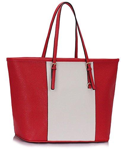 LeahWard® Damen Groß Schulter Handtasche Damen Mode Essener Berühmtheit Einkaufstaschen Qualität Kunstleder Handtaschen CWS00297A CWS00297B CWM0031 CWS00297A-Red/Weiß/Cream