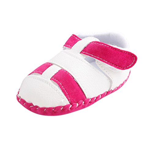 Koly_Ragazze del bambino Ragazzi pattini della greppia splicing morbida suola antiscivolo sandali del bambino Sneakers (SIZE 12, Hot Pink)