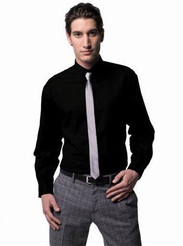 Russell Collection! Pflegeleichtes Langarm Oxford Hemd auch in Übergrößen L / 41/42 / 16.5,Schwarz -