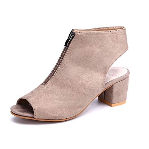 Sandalen Damen Blockabsatz Stiefel Peep Toe Keilabsatz Stiefeletten Reißverschluss Sommer Schuhe Party Plateau 5cm Grau EU38