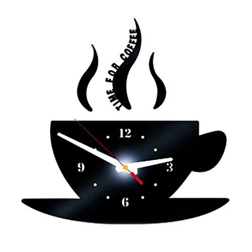 Zarupeng DIY Kaffee Lautlos Wanduhr, Removable Acryl 3D Spiegel Wandaufkleber Dekorative Digitale Uhr im Vintage-Design ohne Tickgeräusche (15*30cm, Schwarz)