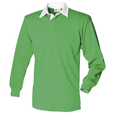 Front Row - Polo de rugby à manches longues 100% coton - Homme (L) (Vert vif/Blanc)