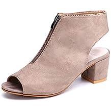 01cee5d7b Botines Mujer Tacon Bloqu Sandalias Cuña Peep Toe Verano Ante Zapatos  Cremallera Abrir de Espalda Partido