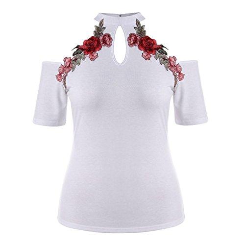 TUDUZ Damen Oberteile Elegant Groß Größe Rose Stickerei Floral Tank Tops Bluse Camisole Basic Shirt Tunika Top (X-Weiß, XXXL) (Victoria Rose Kleider)