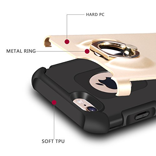 Cover iPhone 6S, Cover iPhone 6, Coolden [Rotazione Grip Ring Kickstand] Dual Layer Armor Rugged Cover Protettivo iPhone 6S Shock-Absorption Bumper Protezione Cover Custodia per iPhone 6/6S - Grigio Doro