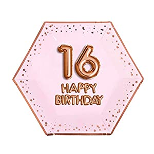 Neviti- Glitz and Glamour Birthday Pink & Rose Gold-Large Plate-Age 16 Papel, Color Pink/Rose, 27 x 0.5 x 27 (774403)