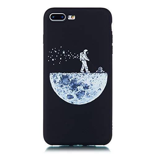 Artfeel Schwarz Weich Silikon Hülle für iPhone 7 Plus,iPhone 8 Plus Hülle,Sternenhimmel Design Handyhülle mit Astronaut Mond Muster,Ultra Dünn Flexibel TPU Bumper Kratzfest Zurück Schutzhülle (Bumper Space)