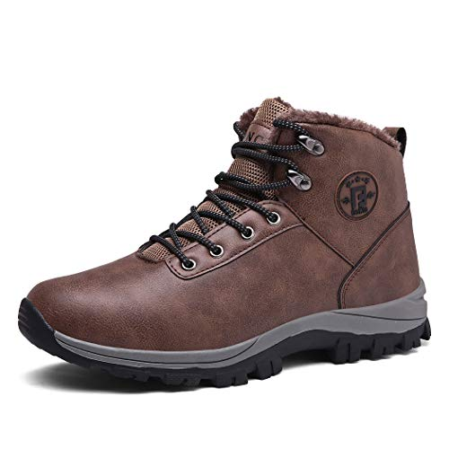 Veluckin Mens Hiking Leather Boots Lace-up Non-Slip Outdoor Sports Mountain Trekking Shoes