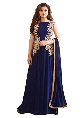 Drashti Dhami Blue Georgette Party Wear Anarkali Suit  available at amazon for Rs.1399