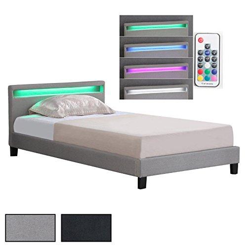CARO-Möbel Polsterbett Einzelbett Doppelbett SATOKA, inklusive Lattenrost und LED Beleuchtung, Designbett mit Stoffbezug, 120 x 200 cm