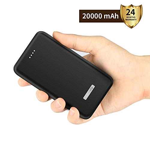 Vancely Powerbank 20000mAh, Caricabatterie Portatile 2 USB Porte, Batteria Esterna per iPhone, iPad, Samsung, Huawei,Tablet-Nero