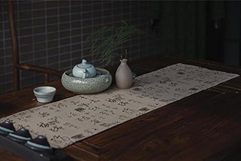LINDA?Napperons Chemins De Table Chine Lin Coton Calligraphie Sceau National Wind Cérémonie Du Thé Table En Toile Nappe?100X30?