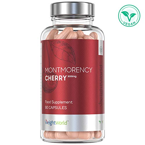 Montmorency Cherry Powder Capsules - 3000mg Pure Vitamin C Enriched Tablets for Sleep, Gout Relief, Health Booster, 45 Day Supply Sleeping Supplement, Natural High Strength Vegan + Keto - 90 Capsules