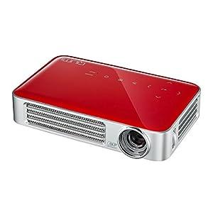 vivitek Qumi Q6, kompakter LED-Projektor im Taschenformat (800 ANSI-Lumen, Wireless, WXGA, 16:10, Kontrast 30.000:1, 2.5 GB interner Speicher, HDMI, USB, Media/Dokumentenviewer), rot