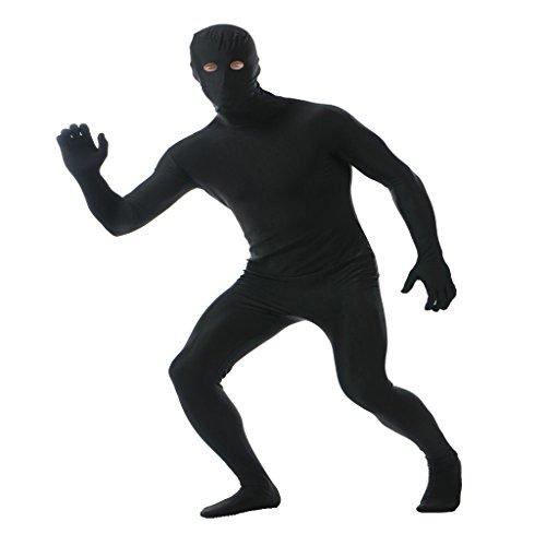 MagiDeal Zentai Ganzkörperanzug Anzug Suit Kostüm - Schwarz, XXL
