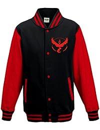 Pokemon Go Team - Team Valor Varsity Jacket Jumper - Black & Red