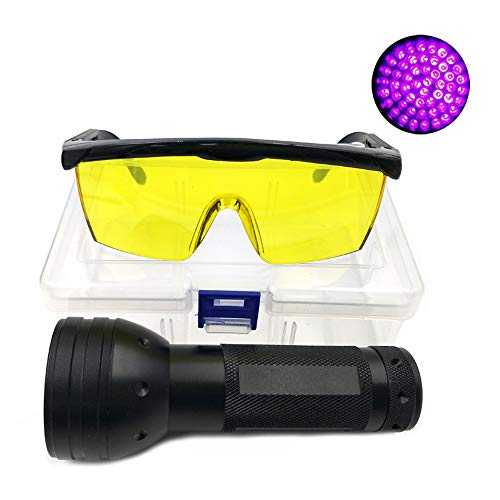Nikauto Linterna UV Luz Negra 51 Linterna LED y Gafas de Protección UV Herramienta de Detector de Gafas para detectar Gato Perro de orina reparación de Coche verificando Dinero