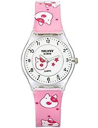 Trendy Kiddy - KL 346 - Montre Fille - Quartz Analogique - Cadran Multicolore - Bracelet Plastique Rose