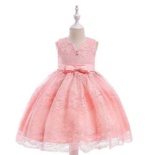 Bademode Schulterfrei Bowknot Prinzessin Kleid Spitze Mesh Blumenmädchen Hochzeit Kostüm Klavier Performance Kleidung 3-11Years Bikinis (Color : Pink, Size : 7-8Years)