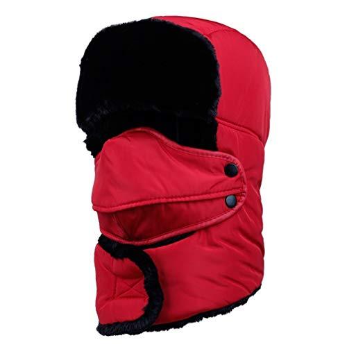 WJBZLN wintermützeWeiblich für Frauen Männer Gesichtsmaske Motorhaube Winddicht Starke Warme Schnee Ski Winter Hut Kappe ohrenklappe, Rot (Schnee-hut Gesichtsmaske Männer)