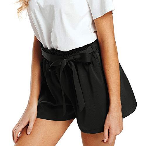 WOZOW Shorts Kurze Hose Damen Casual Loose Lose Solid Einfarbig Rüschen Tie Riemchen Silky Mini Hosen High Waist Soft Bequem Elegant Pyjama Trouser - Borg Halloween Kostüm