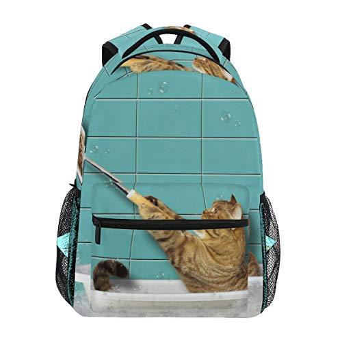 Rucksack Rucksack Perfekt für Schulreisen Bad Katze Selfie Kindertagesstätte für Teen Boys Girls
