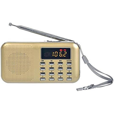 Radio portatile FM, Gtide ricaricabile Mini altoparlante radiofonico digitale di musica MP3 Player TF di sostegno Disk / USB con la visualizzazione a LED e funzione torcia elettrica di emergenza(oro)