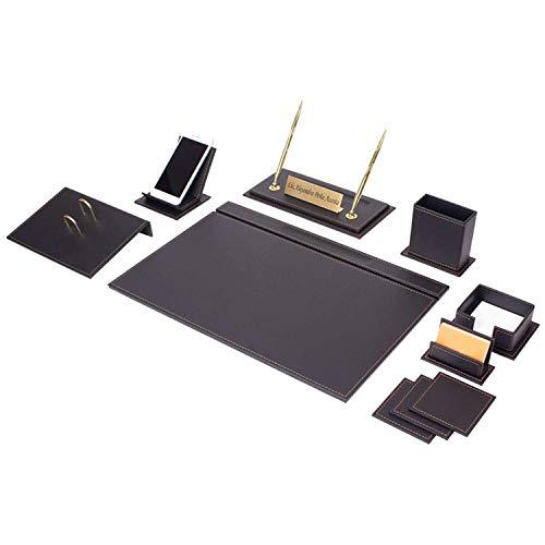 Vega - Set da scrivania, 12 pezzi, in similpelle di alta qualità, con supporto per cellulare e 2 opzioni di cucitura (bianco o marrone) 49x34cm Nero
