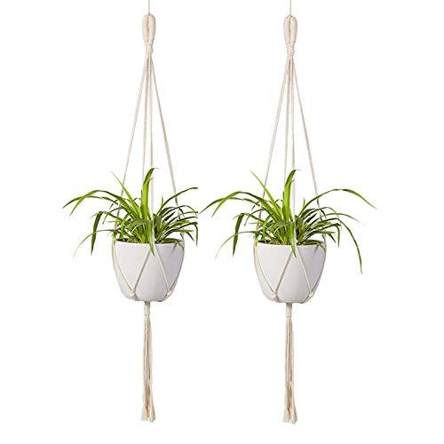 REFURBISHHOUSE Makramee Pflanzen Aufh?nger 2 Stücke Innen Au?en Wand Behang Pflanzer Korb - Baumwolle Seil Moderne Boho Haus Dekor (Moderne Wand-pflanzer)