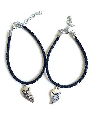 Imagen de strass & paillettes pulsera doble best friend en faux leather negro. corazón apartado en dos. regalo para su mejor amiga alternativa