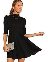 8ea51900275ab DIDK Damen Kleider Stehkragen Minikleid Partykleid Elegant Langarm Kleid A  Linie