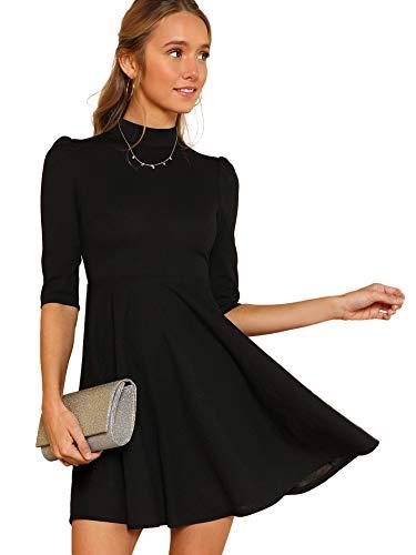 DIDK Damen Kleider Stehkragen Minikleid Partykleid Elegant Langarm Kleid A Linie Hohe Taille Puffärmel mit Reißverschluss Schwarz S