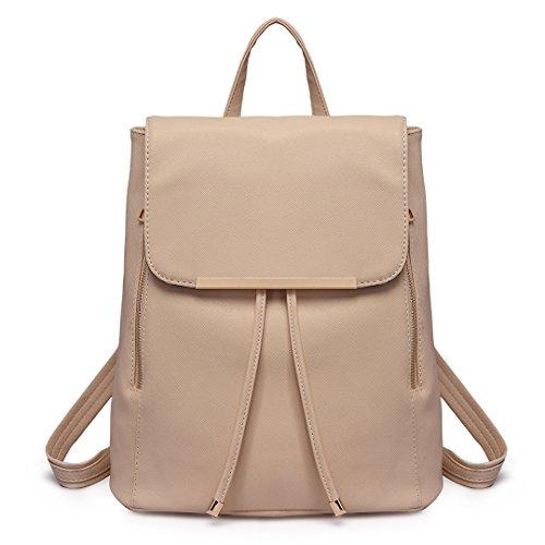 Miss LuLu Schulrucksack Daypack PU Damentasche Vintage Outdoor Rucksack Für Uni Freizeit Urlaub (E1669-Beige) (Fox Rucksack Girls)