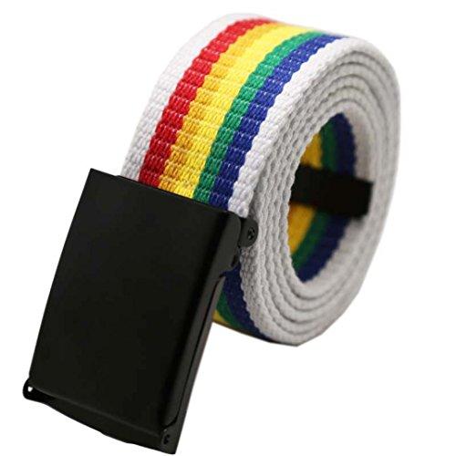 Traumzimmer Unisex Plain Webbing Männer Jungen Taille Gürtel Casual Leinwand Bund Regenbogen (Erwachsene Feuerwehr Anzug)