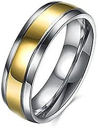 WIBERN Stylish Titanium Steel Wedding Band Gold Silver Double Tone Beveled Edges Men Ring