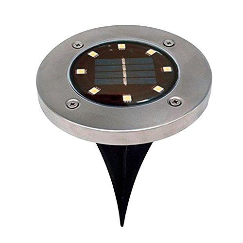 Solarbetriebene Bodenleuchten, YooGer 8 Outdoor LED Solarweg beleuchtet, Garten-Landschaftswarme weiße Beleuchtung für Yard-Fahrstraßen-Rasen-Bahn-Gehweg-Disketten-Lichter Sicherheits-verkabelung