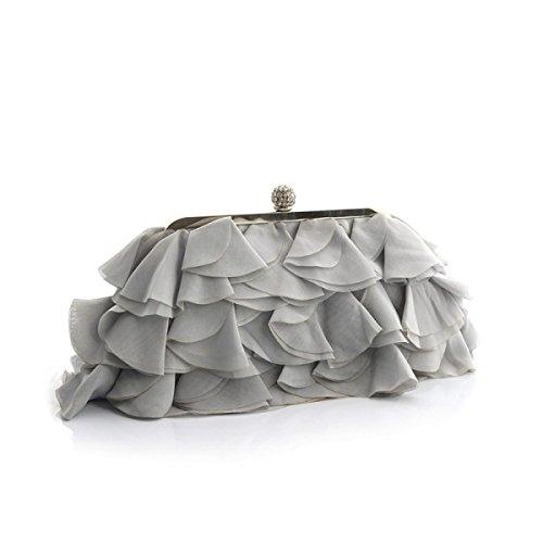 Damen Bankett Abendkleid Tasche Chiffon Abendtaschen Diamond Bridal Bag Catwalk Chain Bag,LightGray-OneSize -