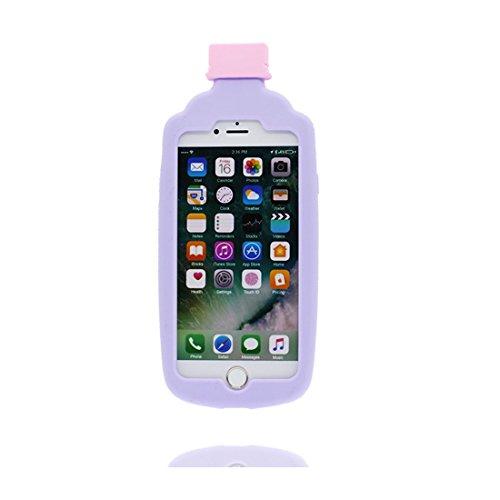 """iPhone 6 Plus Coque, Cartoon 3D Bouteille de jus, Case iPhone 6s Plus Étui 5.5"""", TPU Flexible Durable Shock Dust Resistant Shell iPhone 6 Plus Cover 5.5"""" pourpre"""