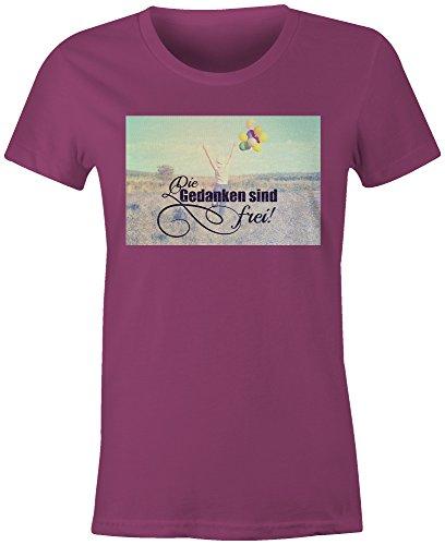 Die Gedanken Sind Frei 2 ★ Rundhals-T-Shirt Frauen-Damen ★ hochwertig bedruckt mit lustigem Spruch ★ Die perfekte Geschenk-Idee (07) pink