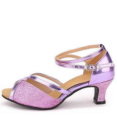 Scarpe da ballo-Non personalizzabile-Da donna-Balli latino-americani-Quadrato-Finta pelle Paillette-Viola Argento Dorato Purple